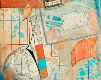 For A Moment, mixed-media/acrylic on canvas, map art
