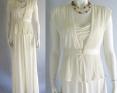 vintage 70s dress slinky bride off white wedding small