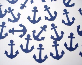 100 Nautical Navy Blue Anchors punch die cut confetti scrapbook embellishments - No323