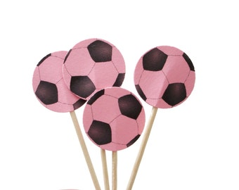 24 Pink Soccer Ball Party Picks, Cupcake Toppers, Food Picks, Sandwich Picks, Toothpicks - No205