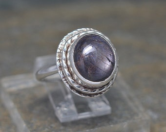 Natural Corundum Ruby Ring, Size 7 and a half, Purple Corundum Cabochon, Sterling Silver, Handcrafted by me in the USA