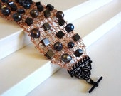 Knit Wire Bracelet - Copper with Black Pearlescent & Hematite Stones - Ready to Ship