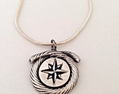Fine SIlver Mercator Compass Rose Pendant  - recycled - sterling - marine  explorer rope - boat sailing - map - cartography maps - nautical