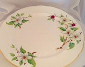 Hammersley White Dogwood Blossom Plate English Fine Bone China Vintage Sandwich or Salad plate - Green Yellow red White tree - afternoon tea