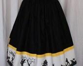 Reserved Vintage 1950s inspired full dirndl skirt black with vintage border print xl rockabilly VLV