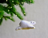 flying bear - polar bear christmas ornament
