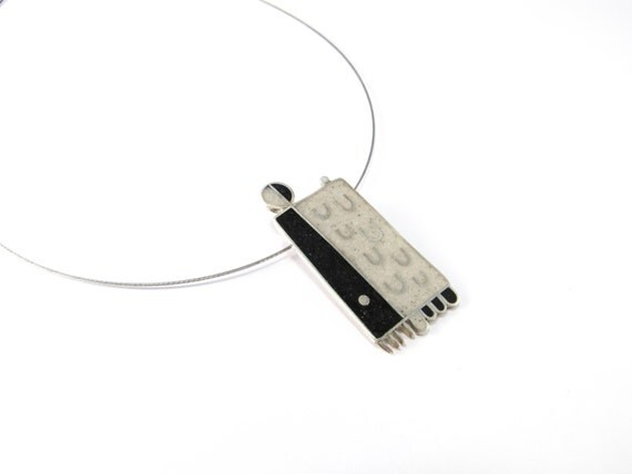 Sterling Silver Pendant, Modern, Black, White, Color, Geometric, Contemporary, Necklace, OOAK