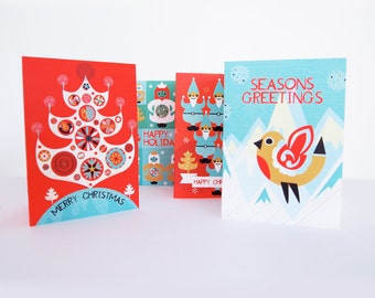 Christmas Card 8 Pack Scandinavian Festive Illustrated Christmas Tree, Robin, Angels and Elves