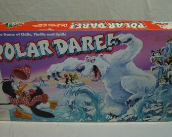 Classic 1991 Polar Dare! Board Game by MB - 100% Complete - Nice Condition - Ice Bergs - Penguins - Bear
