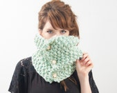 PDF Knitting PATTERN - Basic Button Cowl Scarf
