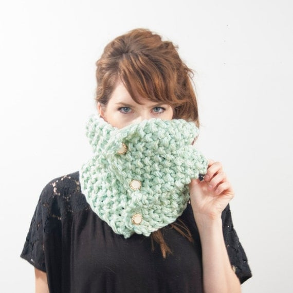 Knitting Pattern For Basic Scarf : PDF Knitting PATTERN Basic Button Cowl Scarf