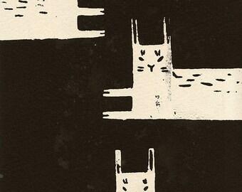 "Silkscreen Rabbits Print 4x6"" Limited Edition of 20"