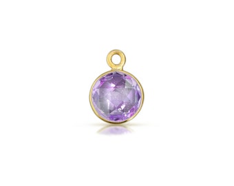 18Kt Gold Plated Sterling Silver 8mm faceted Amethyst Drops/Charms - 1pc Good Quality Wholesale price (6137)/1