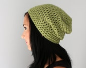 Sage Green Philly Slouchy Beanie Hat, Fall Fashion Accessories, Ladies Green Toque, Men's Dust Green Hat