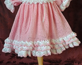 Pink & White Crocheted Baby Dress with detachable Lace Collar, Bonnet, and Booties - CUSTOM ORDER - 13115-G