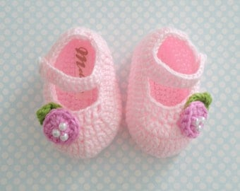 Baby Crochet Shoes, Pink crochet Ballerina for babies, Little Girl slippers, Gift for babies, Cotton Shoes for baby