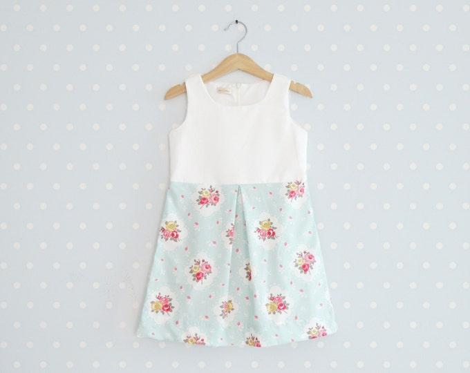 Vintage Inspired Girls Dress, Shabby Chic Girl Dress, Toddler summer dress, Baby Mint Floral Dress
