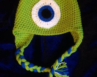 Green One-Eyed Monster Hat with horns