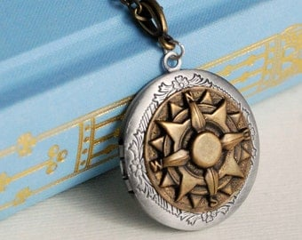 Vintage Brass Compass Locket Necklace, silver gold mixed metal nautical ship steampunk photo message pendant travel graduation gift