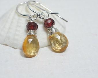 Multi Stone Citrine Garnet Earrings Sterling silver wire wrap