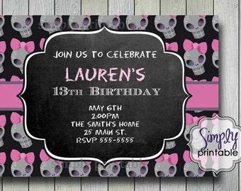 Skull Girls Birthday Invitation (Printable Digital File)