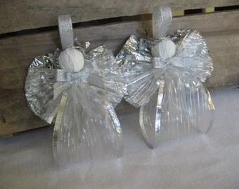 Sheer Fabric Ribbon Angel Ornaments U-Pick Color Set of TWO Fabric Ribbon Angel Tree Ornaments SnowNoseCrafts