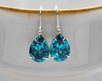DECEMBER Swarovski Earrings, BLUE ZIRCON Rhinestone Earrings Bridesmaid Earrings Vintage Earrings Victorian Jewelry By Victorian Curiosities