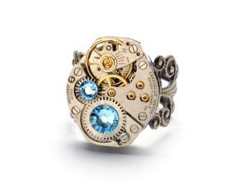MARCH Steampunk Ring, AQUAMARINE Steampunk Jewelry Steampunk Vintage Watch Ring Aqua Blue Ant Brass SteamPunk Jewelry VictorianCuriosities