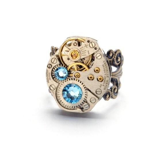 MARCH Steampunk Ring AQUAMARINE Steampunk Jewelry Steampunk Steampunk Watch Ring Aqua Blue Ant Brass SteamPunk Jewelry VictorianCuriosities