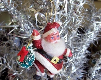Hand Painted Christmas Tree Ornament Santa Claus Vintage Flocked With New Sparkle Collectible