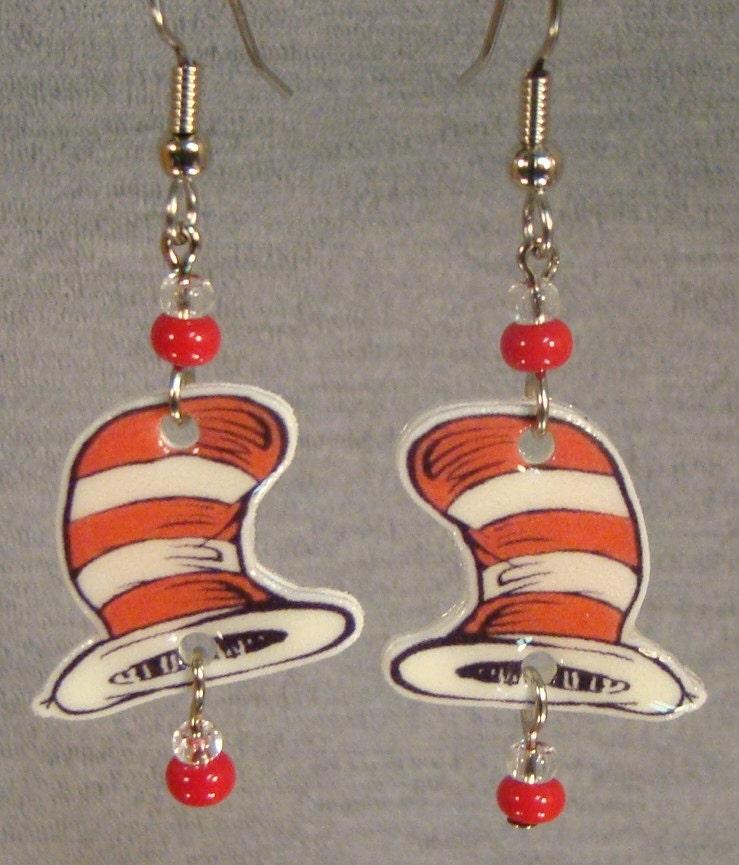 dr seuss cat in the hat dangle earrings book illustration