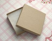 Kraft Jewelry Boxes Cotton Filled High Quality 3.5 x 3.5 x 7/8 inch - 10 Large