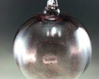 Transparent Purple Optic Hand Blown Glass Ornament