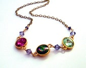 Colourful rhinestone gold necklace - Swarovski Elements Austrian crystals green violet fuschia stones, brass chain, colorful crystal jewelry
