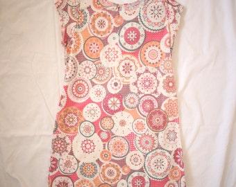 Handmade + 60s Style Mod Shift A-Line Dress Pink Orange Summer Lolita Fashion
