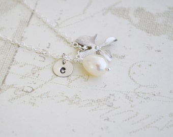 Personalized Orchid Necklace, White Freshwater Pearl, Sterling Silver, Monogrammed Gift, June Birthstone, Gift Under 35