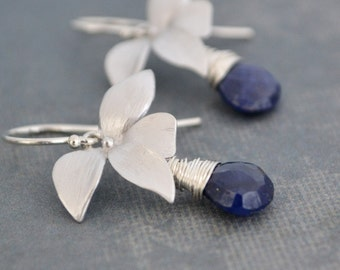 Handmade Wild Orchid Natural Blue Sapphire Earrings, Sterling Silver Hoops, September Birthstone, Gift Under 35
