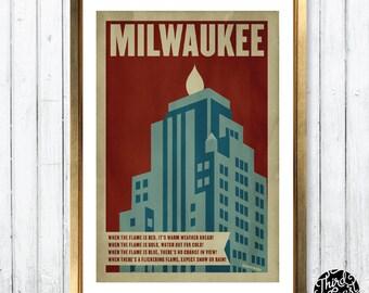 Milwaukee Gas Light Building Retro Poster Print (11x17)