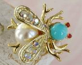 Vintage Turquoise and Rhinestone Bug Brooch