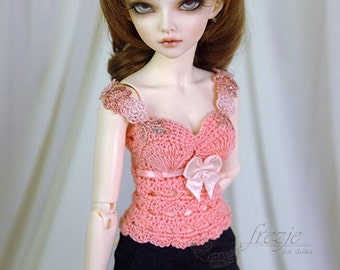 LAST ONE Salmon-pink crochet top, corset for MSD