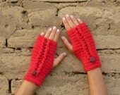 Fingerless Crochet Pattern PDF Ello mittens - braids cable crochet  - woman warm accessory gloves - Instant DOWNLOAD