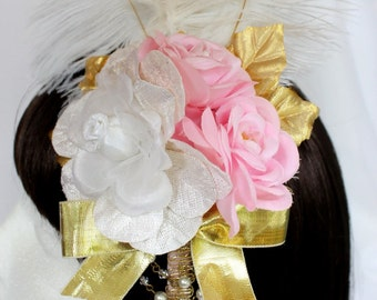Royal Pink Rose Feathered Heaband