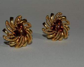 Vintage 1950s Lisner Rhinestone Earrings - Golden Topaz - Autumnal Wedding Fashions