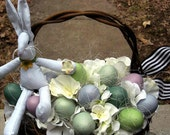 Easter Bunny with eggs, woven egg basket with bunny, eggs for door or table, ready to ship, shabby bunny sits on egg basket, Easter decor