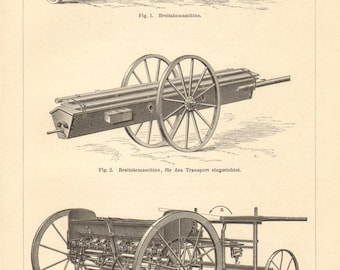 1897 Original Antique Engraving of Seed Drill Models from the 19th Century