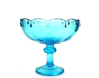 Vintage Aqua Glass Bowl Teardrop Garland Indiana Glass Co Mid century Turquoise Compote Footed Fruit Bowl