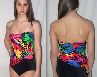 Rio .... Vintage 80s strapless swimsuit / 1980s 1 one pc piece maillot / ruched neon bathing suit ... XS S