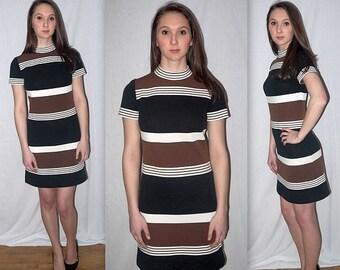 Dear Brigitte .... vintage 60s day dress / 1960s mod mini go go / mad men stewardess / retro indie / short sleeve stripe knit .. XS S