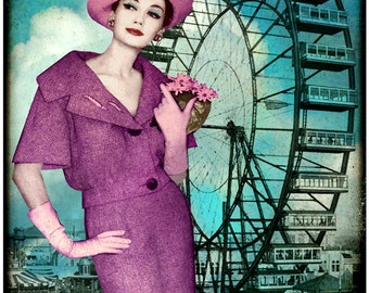 typography, fashion photography, vintage photograph, mid century, Chicago, pink, steel blue, architecture, retro, pink ,purple