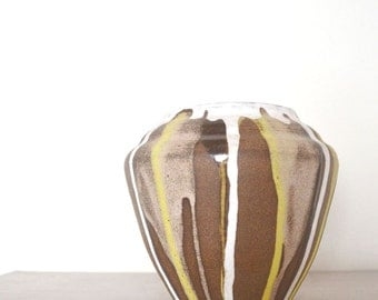 Vintage Drip Vase - 1970s Southwest Ceramic Vase - Rustic Tribal Home Décor Storage